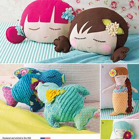 Stuffed Doll Face Pillows, Mermaids and Birds
