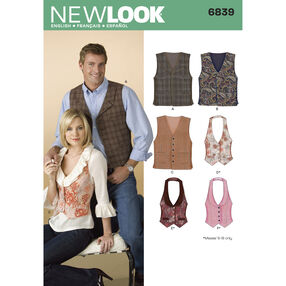 New Look Pattern 6839 Misses' & Men's Vests