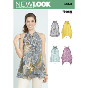 6450 Misses' Easy Tops with Optional Neck Tie