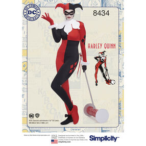 Pattern 8434 Misses' Knit DC Comics Bombshell Harley Quinn Costume