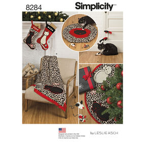 Simplicity Pattern 8284 Holiday Stocking, Tree Skirt, Throw, Cat Bed and Cat Toys