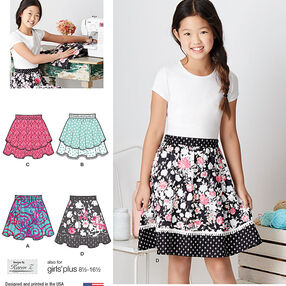 Pattern 8106 Learn To Sew Skirts for Girls and Girls Plus