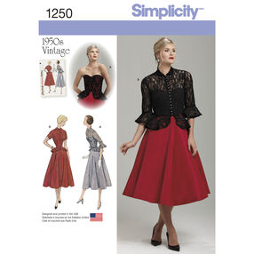 Simplicity Pattern 1250 Misses' Vintage 1950's One Piece Dress and Jacket