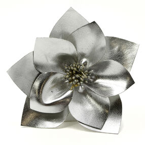 Silver Leather Layer Pin & Clip Flower_56-63063