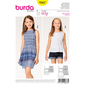 Burda Style Pattern B9367 Girl/Girl Plus Dress and Top