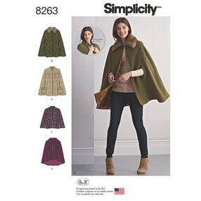 Simplicity Pattern 8263 Misses' Capes and Capelets