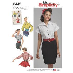 Pattern 8445 Misses' Vintage Blouses and Cummerbund