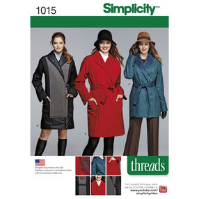 Simplicity Pattern 1015 Misses'/Petite Coat or Jacket, Threads Magazine Collection