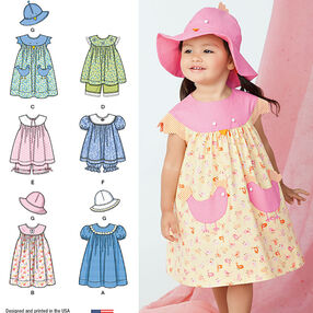 Toddlers' Dress, Top, Panties and Hat