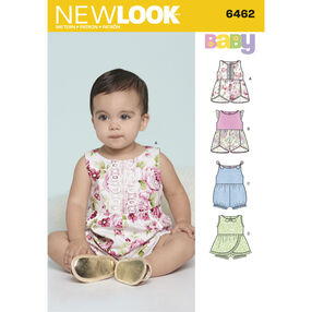 6462 Babies' Rompers with Trim Variations