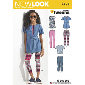New Look Pattern 6505 Girl and Girl Plus Tops and Leggings