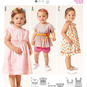 Burda Style Pattern 9385 Toddlers Shirt and  Dress