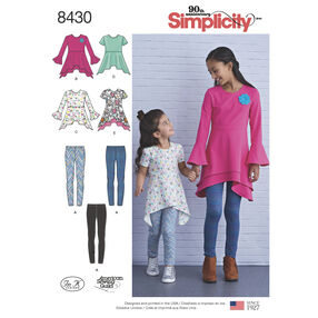 Pattern 8430 Child's/Girl's Knit Tunics in Two Lengths and Leggings