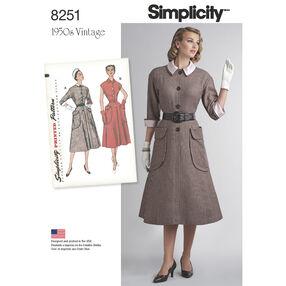 Simplicity Pattern 8251 Misses' Vintage 1950s One-Piece Dresses