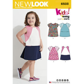 New Look Pattern 6503 Toddler's Knit Dress with Sleeve and Fabric Variations