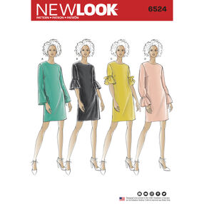 New Look Pattern 6524 Misses' Dress with Sleeve Variations