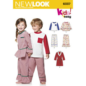 Child's Easy Top, Pants, Robe and Knit Top