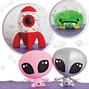 Stuffed Alien, Space Monster and Rocket Ship