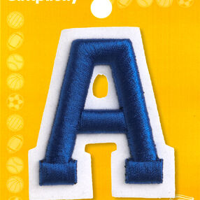 "2"" Raised Embroidery Letter Iron-On Applique, Blue"