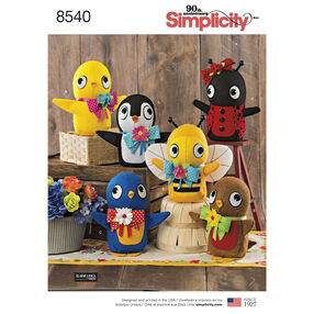 Simplicity Pattern 8540 Felt Stuffed Birds, Bee and Ladybug