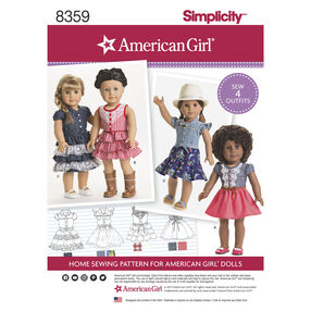 "Simplicity Pattern 8359 18"" American Girl Doll Clothes"