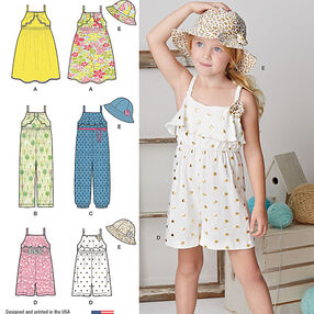 Pattern 8100 Child's Jumpsuit, Romper, Dress and Hat