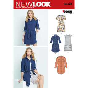 6449 Misses' Easy Shirt Dress and Knit Dress