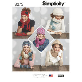 Simplicity Pattern 8273 Misses' Knit Cold Weather Accessories