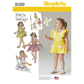 Simplicity Pattern 8099 Toddlers' Romper and Button-on Skirt
