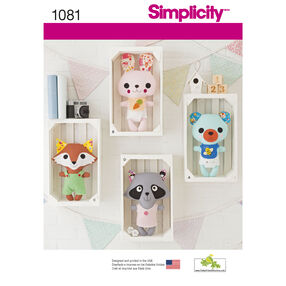 Simplicity Pattern 1081 Stuffed Animals with Felt Clothes