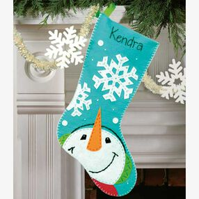 Catching Snowflakes Stocking in Felt Applique_72-08189