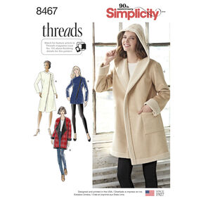 Simplicity Pattern 8467 Misses' Coat or Jacket with Neckline Variations