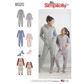 Simplicity Pattern 8520 Giris' and Misses' Jumpsuits and Booties