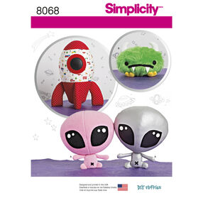 Simplicity Pattern 8068 Stuffed Alien, Space Monster and Rocket Ship