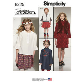 Simplicity Pattern 8225 Child's and Girls' Inspired by Project Runway Sportswear