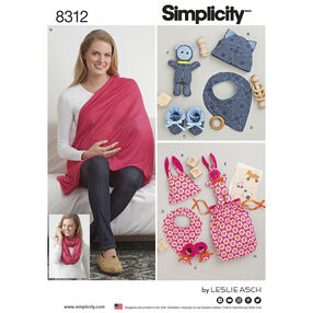 Simplicity Pattern 8312 Knit Baby Gifts and Nursing Shawl