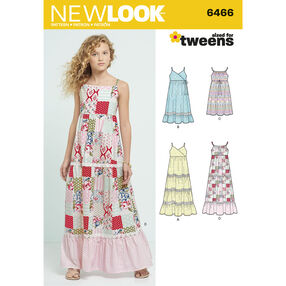 New Look Pattern 6466 Girls' Dresses with Trim, Bodice and Lace Variations