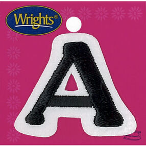 Small Letter Iron-On Applique, Black