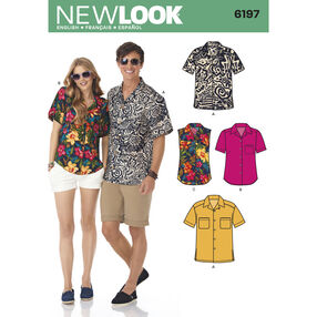 New Look Pattern 6197 Misses' and Men's Shirts