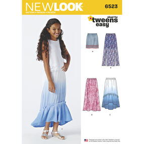 New Look Pattern 6523 Girls' Skirts with Length and Fabric Variations
