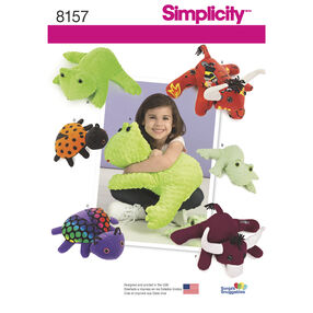 Simplicity Pattern 8157 Stuffed Frog, Lady Bug and Bulls in Two Sizes