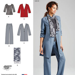 Misses' Pants, Coat or Jacket, Scarf and Knit Top