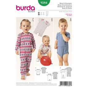 Burda Style Pattern 9384 Babie's Bodysuit and Rompers