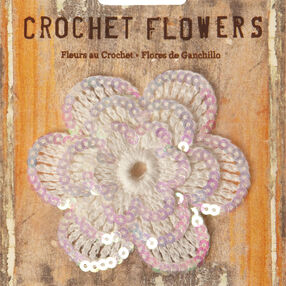 "3"" Sequined Crochet Flower Applique"