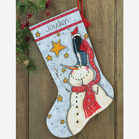 Tall Hat Snowman Stocking in Counted Cross Stitch_70-08924