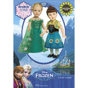 """Simplicity Pattern 1088 Disney Frozen Fever 18"""" Doll Clothes"""