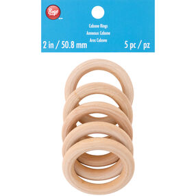 2 Inch Natural Wood Cabone Rings 5 Count