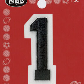 "2"" Raised Embroidery Number Applique, Black"