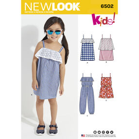 New Look Pattern 6502 Child's Jumpsuit, Romper and Dresses