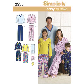 Simplicity Pattern 3935 Child's, Teens' & Adults' Sleepwear